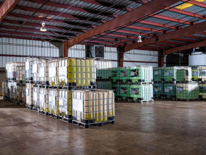 Corn syrup and air being treated in a warehouse